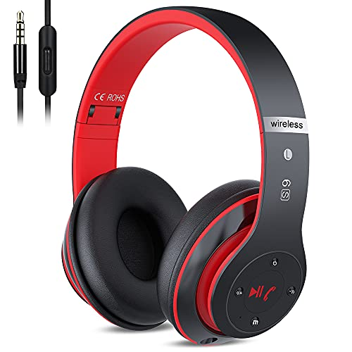 6S Wireless Bluetooth Headphones Over Ear, Hi-Fi Stereo Foldable Wireless Stereo Headsets Earbuds with Built-in Mic, Volume Control, FM for iPhone/Samsung/iPad/PC (Black & Red)