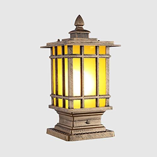 KDBDBF Traditionelle antike Pfosten-Säulen-Laternen-Quadrat-Aluminiumtür-Spalten-Lampe IP55 imprägniern regensichere Glaslaterne-Garten-Tor-Park-Garagen-Zaun-Licht (Color : Bronze-S18*35cm)