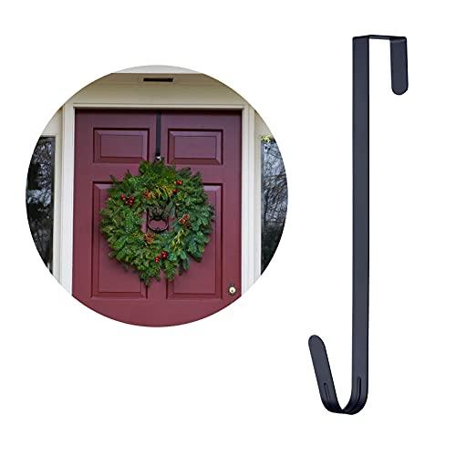 "15"" Wreath Hanger Wreath Hook, Over The Door Hooks for Christmas Thanksgiving Wreath Decor, Black (1)"