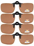 Eyekepper Flip-up Clip-on Sunglasses Polarized 60x43 MM 4-Pack Metal Glasses Clip (Brown)