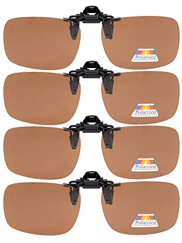 Eyekepper Flip-up Gafas de sol Clip Polarizado 60x43 MM 4-Pack Metal Gafas Clip Brown