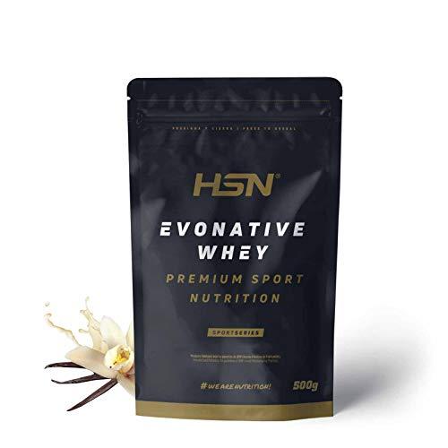 Proteína de Suero Leche Nativa Evonative de HSN | Native Whey Protein | Materia Prima de Máxima Calidad | Vegetariano, Sin Gluten, Sin Soja, Sabor Vainilla, 500g