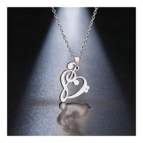 Accesorios Collar de Acero Inoxidable símbolo de música del corazón de los Clefs Agudos y del Infinito Amor del Encanto Collares Pendientes Unisex joyería Regalo (Metal Color : Silver)