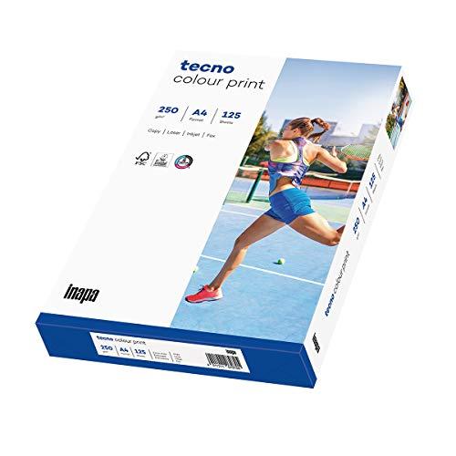 inapa Druckerpapier, Laserpapier tecno Colour Print: 250 g/m², A4, 125 Blatt, glatt, weiß – für brillante Farben