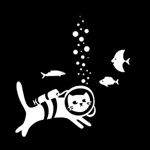 CANGZHOUXIYU Etiqueta engomada del Coche de Polietileno 17.8 * 18.8cm Una Buceo Peces Gato Etiqueta engomada del Coche del Coche del Vinilo de la Etiqueta Styling Accesorios Decoración Negro/Plata