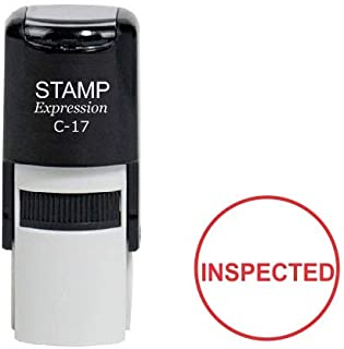 StampExpression - Inspected Round Office Self Inking Rubber Stamp - Red Ink (A-6982)