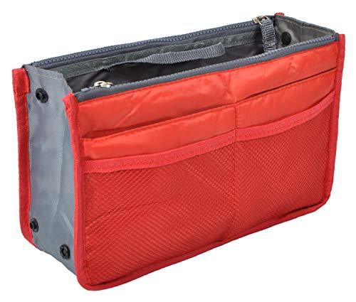 Vercord Purse Organizer Insert for Handbags Bag Organizers Inside Tote Pocketbook Women Nurse Nylon 13 Pockets Red Medium
