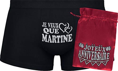 Herr Plavkin Je Veux Que Martine | Cadeau d'anniversaire | Black Boxershorts| Red Bag 'Happy Birthday'.