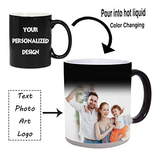 Tazas de café con foto personalizadas, taza de café con cambio de color personalizado Taza de cerámica sensible al calor caliente AGREGUE SU PROPIO TEXTO DE FOTO DE LOGO 350ML / 12oz