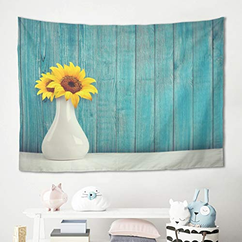 Niersensea Tapiz para colgar en la pared, diseño de girasoles, vintage, color azul, para picnic, playa, meditación, yoga, para la habitación de los niños, acolchado blanco, 150 x 130 cm
