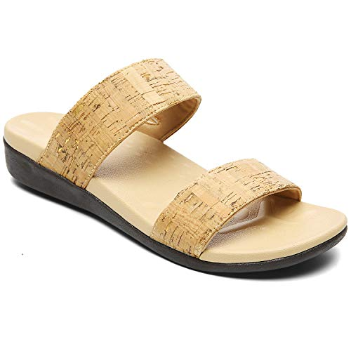 Orthopedic Sandals for Women, Plantar Fasciitis Sandals for Flat Feet Supportive, High Arch Walking Slides with Adjustable Elastic Straps size 8