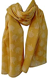 Mulberry Tree Print Scarf Womens Fashion Light Large Wrap Soft Washable Material Large Size 90 X 180 cms Approx.