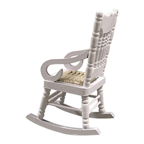 Fliyeong Cute Mini 1:12 casa de muñecas miniatura muebles de madera blanco silla de comedor modelo, regalo para niños creativo y útil