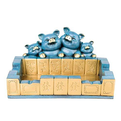 Este es un cenicero con una mano de obra exquisita Cenicero de cobre puro Lucky Pig Ash Bandeja de ceniza Mahjong AshTrays de escritorio Fumar la bandeja de ceniza para el hogar Titular de la ceniza d