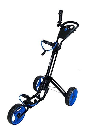 Qwik-Fold 3 Wheel Push Pull Golf CART - Foot Brake - ONE Second to Open & Close! (Black/Blue)