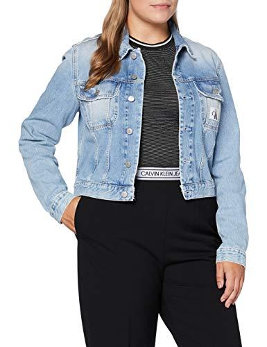 Calvin Klein Jeans Women's 90S Crop Trucker Jacket, Denim, L