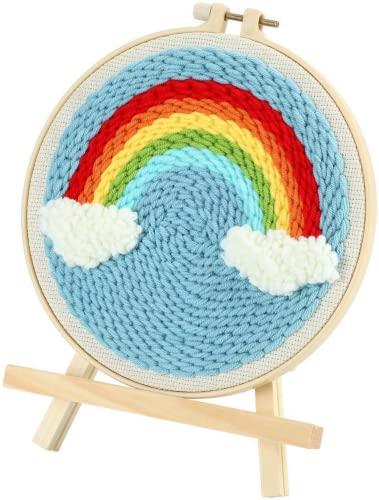 ausuky Kit de iniciación de aguja de punzonado, alfombra de bordado, aro de gancho para principiante, paisaje arco iris