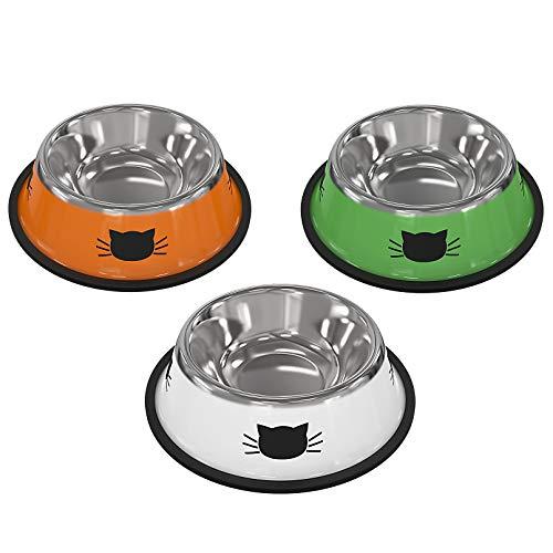 3 Pezzi Ciotola Per Gatti Ciotola Per Cibo per Gatti Antiscivolo ea Prova di Perdite Ciotola per Alimentazione per Gatti Ciotola per Acqua per Gatti Ciotola (Arancione + verde + bianco)
