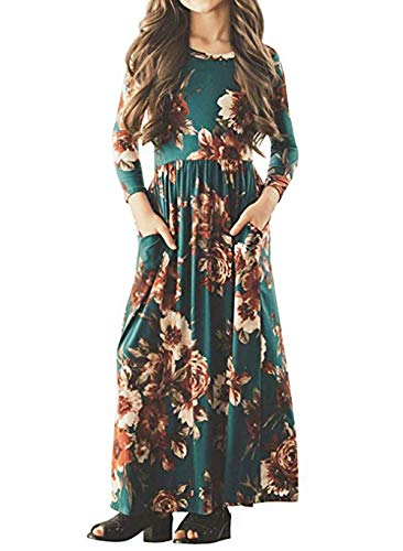 Girls Maxi Dress,Kids Floral Casual Dresses Pocket 3/4 Sleeve T-Shirt for Girls 6-12