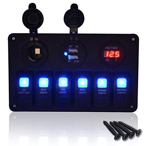 Pannello multifunzione per barche – 5 bande ON-OFF interruttore a levetta, doppia presa USB 2.1A e 2.1A + accendisigari +...