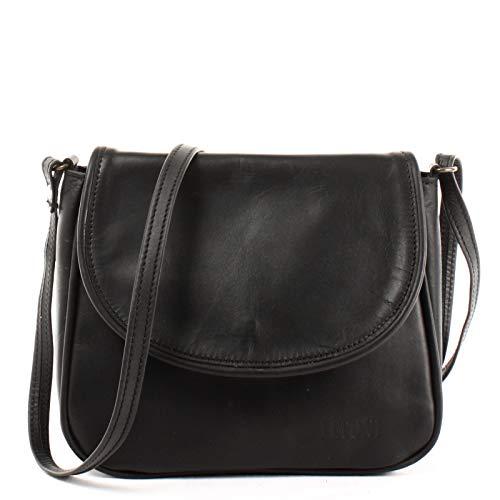 LECONI kleine Umhängetasche Damentasche Schultertasche Festivaltasche Leder 22x18x6cm schwarz LE3047-wax