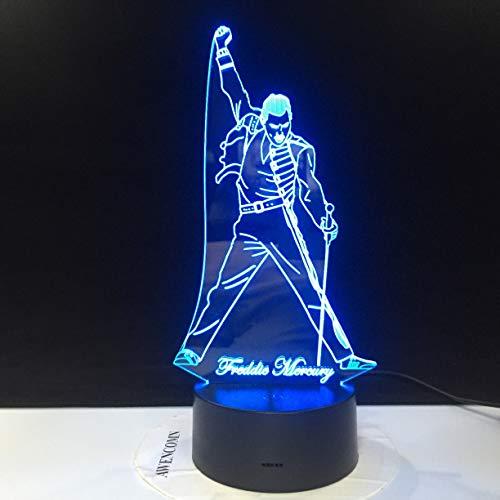 Jiushixw 3D acryl nachtlampje met afstandsbediening, kleurverandering, tafellamp voor kinderkamer, type kantoor, geschenklamp, standaard montage