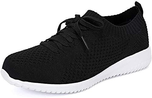 Hojert-004, Zapatos para Correr para Mujer, Zapatos cómodos para Caminar Ligeros de Malla Informal, Zapatos para Correr (Negro/Blanco / 004-1, Numeric_39_Point_5)