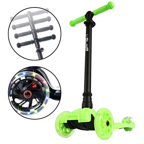 Boardwalk Bobber v20  3 Wheel Mini Scooter for Kids Toddlers Girls and Boys  Easy Adjustable Handlebars  Flashing LED Wheels  Ultra Durable 110lb Weight Capacity  For Children 2 Years Green