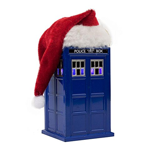 BBC Doctor Who Tardis Christmas Tree Hanging Ornament With Plush Santa Hat