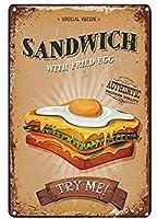 サンドイッチ目玉焼きヴィンテージスタイルメタルサインアイアン絵画屋内 & 屋外ホームバーコーヒーキッチン壁の装飾 8 × 12 インチ