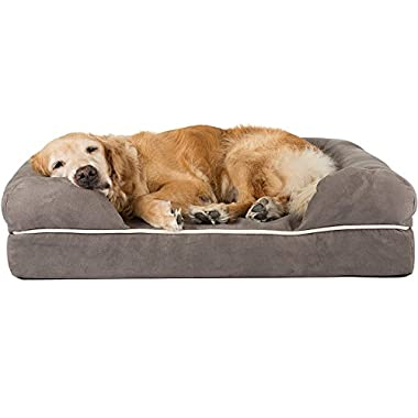 Friends Forever Orthopedic Dog Bed Lounge Sofa Removable Cover 100% Suede 4  Mattress Memory-Foam Premium Prestige Edition 44  x 34  x 10  Pewter Grey XL