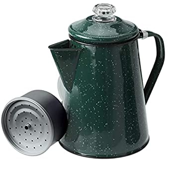 GSI Outdoors 12 Cup Enamelware Percolator Coffee Pot for Campsite Cabin RV Kitchen Groups Backpacking