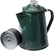 GSI Outdoors 8 Cup Enamelware Percolator Coffee Pot for Brewing Coffee over Stove and Fire | Ideal for Campsite, Cabin, RV, Kitchen, Groups, Backpacking