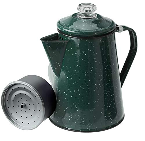 GSI Outdoors 8 Cup Enamelware Percolator Coffee Pot for Brewing