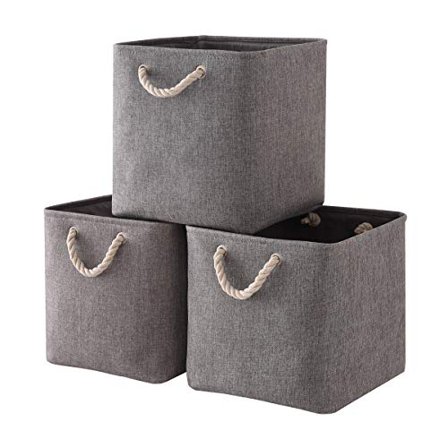 Mangata Cajas de Almacenaje, Cestas Almacenaje de Tela para Ropa, Armarios, Estantes, Juguetes, 33x33x33 cm (Plegable, 3X, Gris)