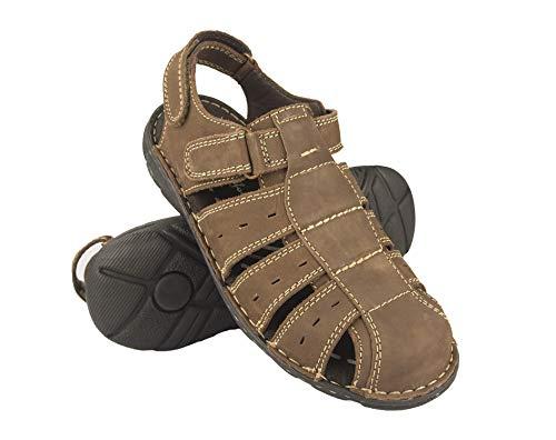 Zerimar Herren Sandalen   Trekking Sandalen für Herren   Sandalen Mann Wandern   Herren Ledersandalen   Männer Sommer Sandalen   Farbe Kaffee Größe 41