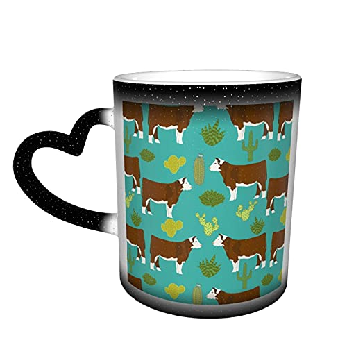 maichengxuan Taza de café unisex de viaje Hereford Cow personalizada sensible al calor color cambiante taza de té de leche tazas de café mágicas