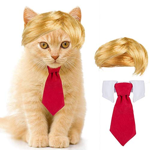 Cat Dog Costume- Cute Style Pet Costume Dog Wig Pet Cosplay Clothes & Hair Accessories Pet Head Wear...
