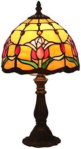 FACAIA Lámpara de Estilo E27, lámparas de Mesa de vitrales, luz de Escritorio Naranja de Enlace Ancha para Sala de Estar, Dormitorio, aparador Antiguo, café