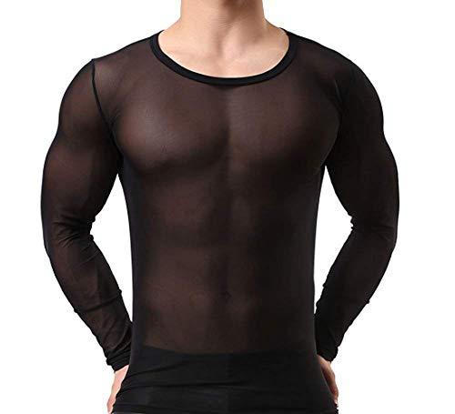 Herren Transparent Schwarz Langarm Tank Top Shirt Nachtwäsche Männer Reizvoll Unterwäsche Slim Muscle Shirt Nylon Hemd Sexy Unterwäsche Herren Unterhemd Mesh Top durchsichtiges Oberteil (M/L)