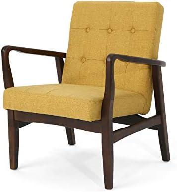 Best Christopher Knight Home Conrad Fabric Mid-Century Birch Club Chair, Wasabi and Dark Espresso, Mustar