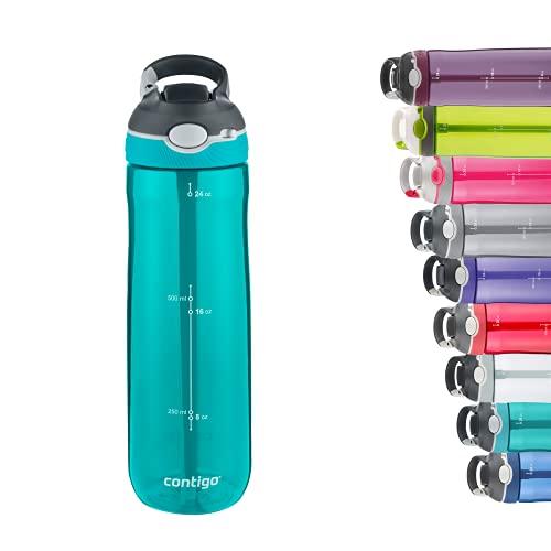 Contigo Botella de Agua Ashland Autospout con pajita emergente, botella reutilizable sin BPA, antigoteo e ideal para viaje, gimnasio, deporte, bicicleta, 720ml