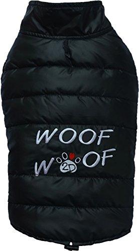 Doggydolly W381 Hundemantel/Hundejacke WOOFWOOF schwarz (M- Brust 41-43 cm Rücken 28-30 cm)
