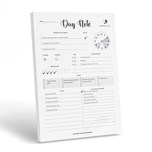 Daily Planner Day Note – Pianifica le tue giornate per una radicale trasformazione della tua vita professionale e personale - Agenda Planner Giornaliera Formato A4 (21 x 29,7cm) con 60 Fogli a strappo