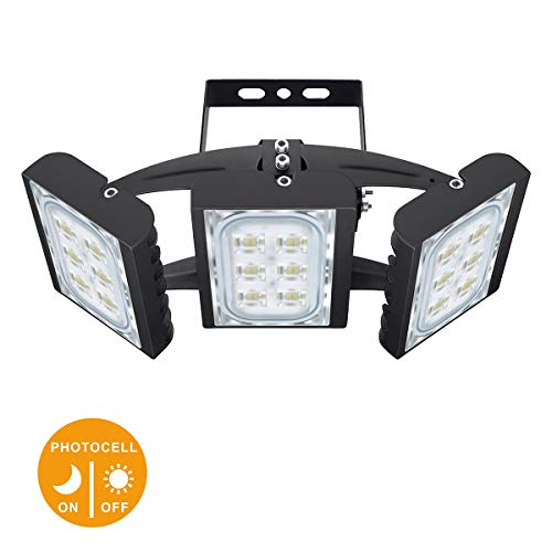 STASUN LED Flood Light, 90W 8100lm Dusk to Dawn Outdoor Lighting (Photocell Included) with 330°Wide Lighting Area, 6000K, OSRAM LED Chips, IP66 Waterproof Security Lights for Yard, Street, Parking Lot