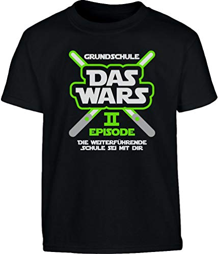 Grundschule Abschluss Schulanfang Das Wars Grün Laser Jungen T-Shirt 152 Schwarz