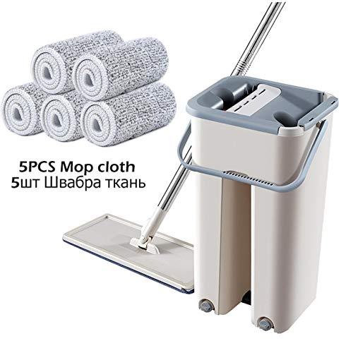 Automatische mop-emmer met vlakke druk om het handen wassen van de vloerwisser te voorkomen. Met 5 mop Rag.