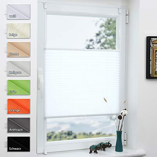 Grandekor Plissee Klemmfix lichtdurchlässig Kinderzimmer, Plisseerollo Jalousien ohne Bohren Sichtschutz & Sonnenschutz Schlafzimmer für Fenster & Tür - 80x120cm (BxH) Weiß