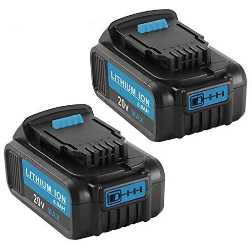 20 Volt MAX 6.0Ah Lithium Ion Premium Replace for Dewalt 20V Battery, Compatible with Dewalt 20V DCB204 DCB205 DCB206 DCB205-2 DCB200 DCB180 DCD985B DCD DCF DCG Series Power Tools 2Pack