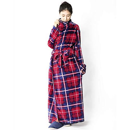 アイリスプラザ 毛布 着る毛布 150cm丈 ルームウェア フランネルマイクロファイバー とろけるような肌触り 静電気防止 洗える レッド/ネイビー